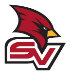Official red cardinal head with red and white S.V.