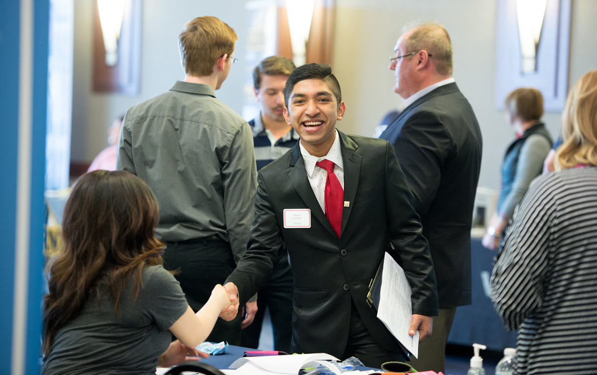 student at employment fair