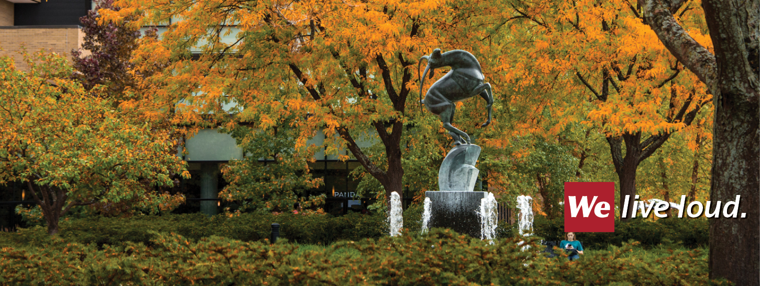 Gazelle fountain in an autumn setting
