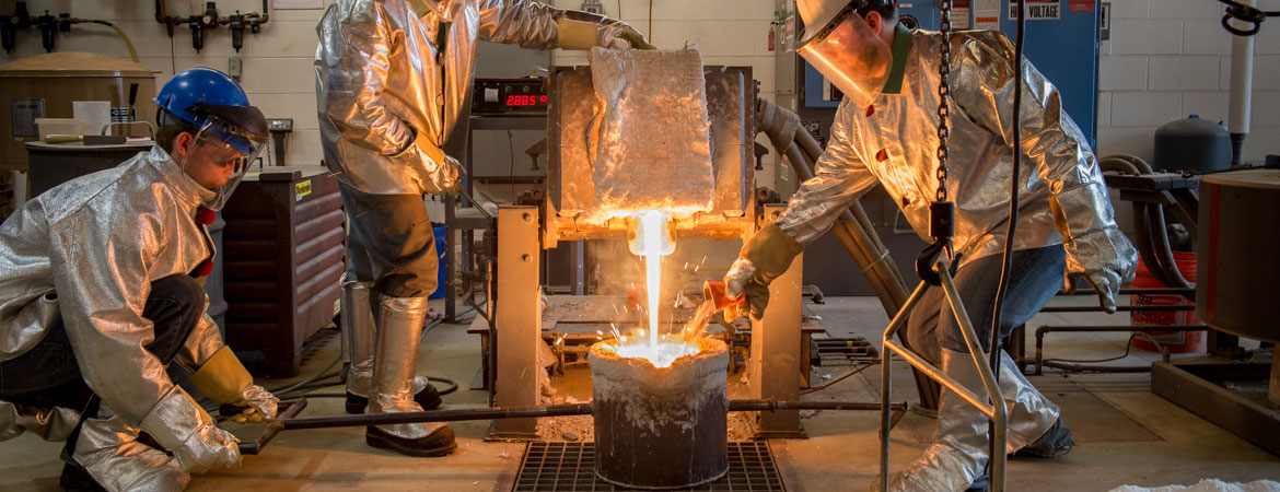 The SVSU foundry lab supports instruction in the Manufacturing Processes and Systems course, the Metalcasting course, research, and student projects.