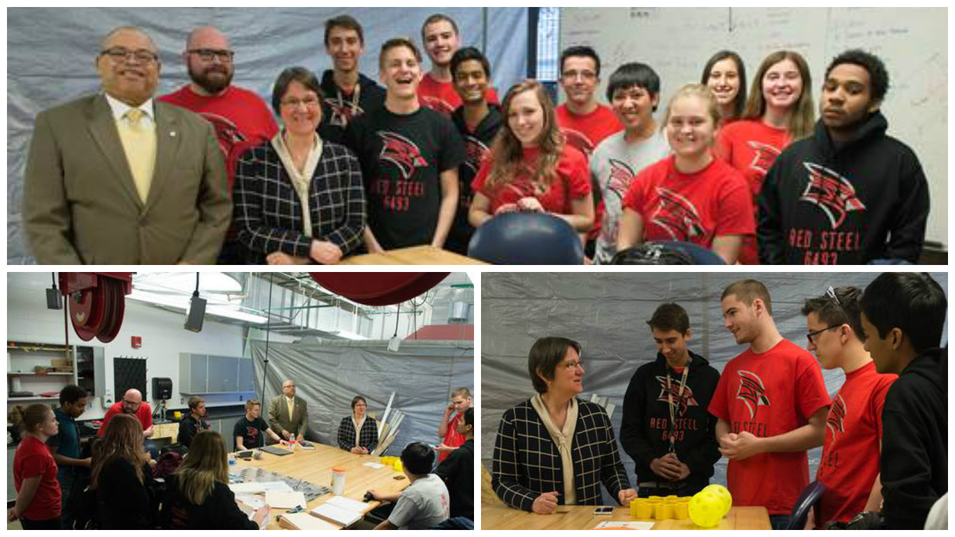 Great Lakes Bay Early College Robotics Team collaborate with Provost Deb Huntley and SET Dean Frank Hall.