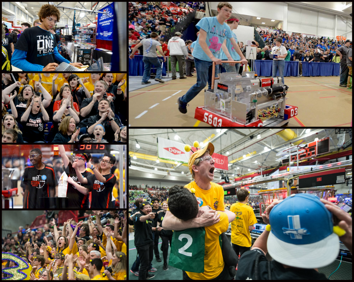 After weeks of preparation and anticipation, FIRST Robotics at SVSU became a reality and a great success.  Images are a collage of action from the week.