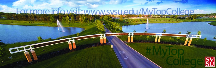 My Top College Banner with aerial image of SVSU Gateway entrance