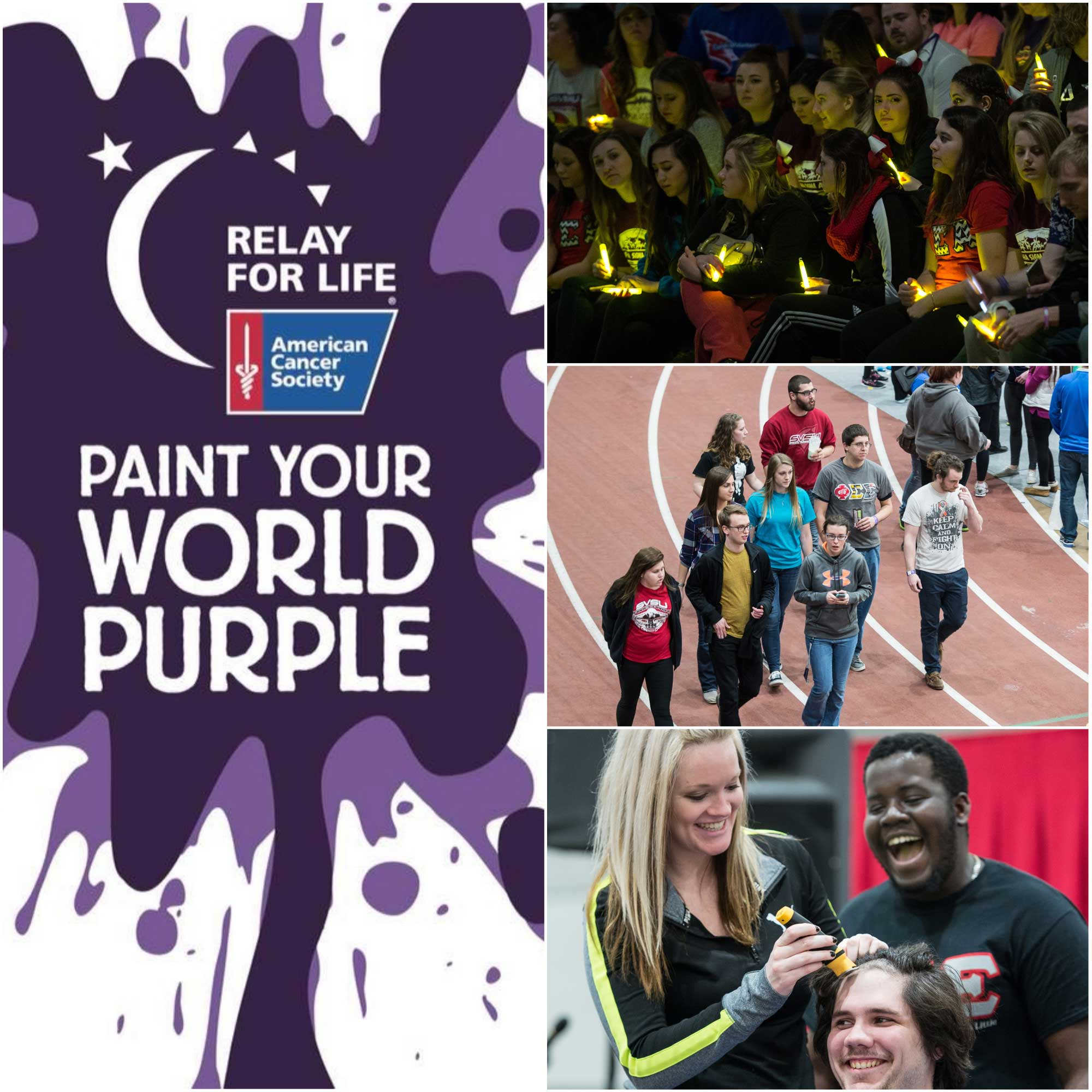 Paint your world purple relay for life promotional graphic