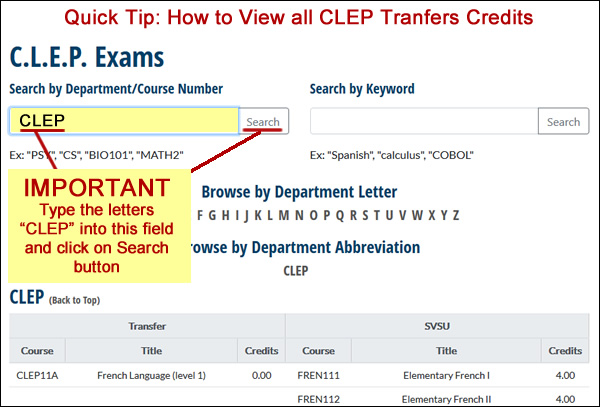 CLEP Transfer viewing instructions