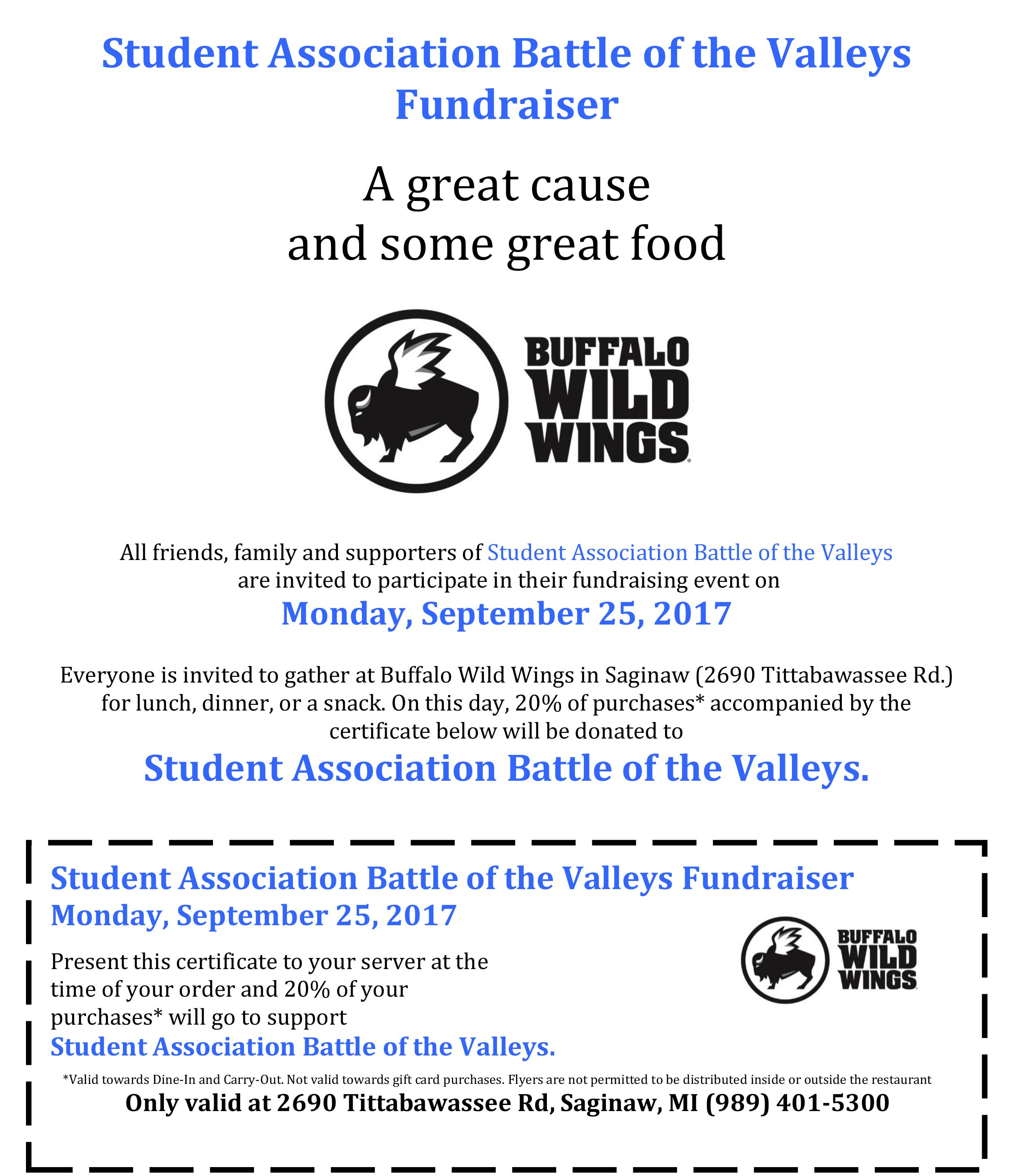 SVSU - Battle of the Valleys - Events & Fundraisers - BWW