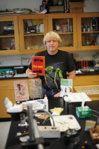 Steve Tabor with his book, Fire Ants
