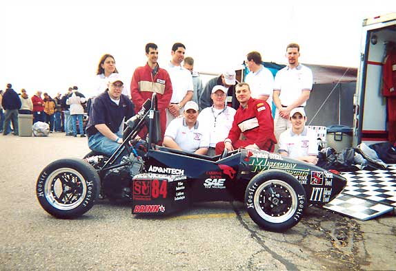 The 2002 team rocketed the program by placing sixth in the world! Their hard work has set the standards for every Cardinal Formula Racing Team since.