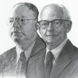 Black and white image of the founding members of the Rollin M. Gerstacker Foundation