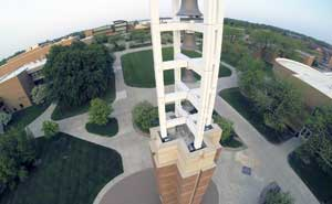 Aerial view of campus from above bell tower