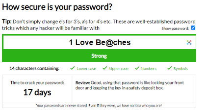 An image of a secure password phrase
