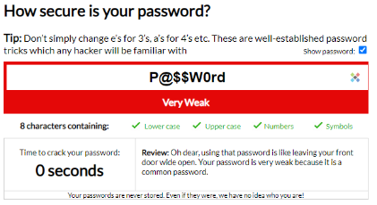 An image with an example of a weak password