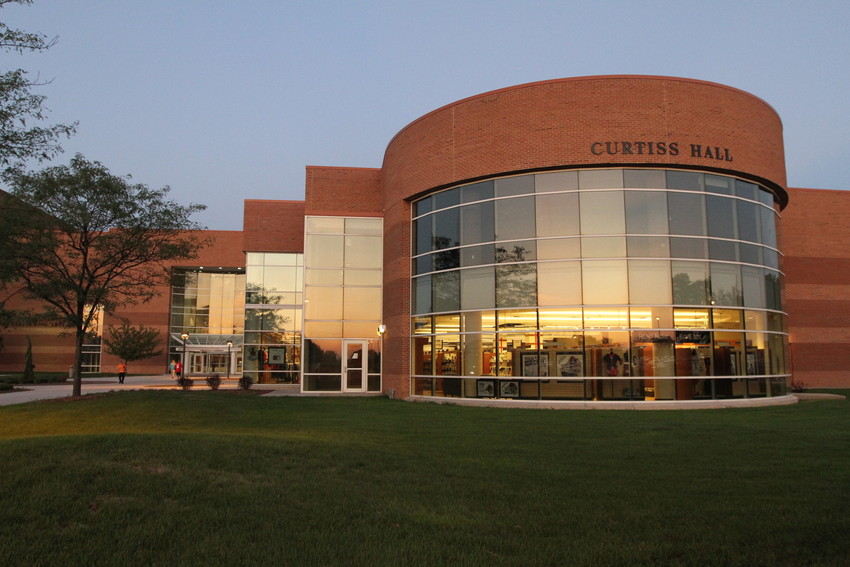 Front of Curtiss Hall at dusk