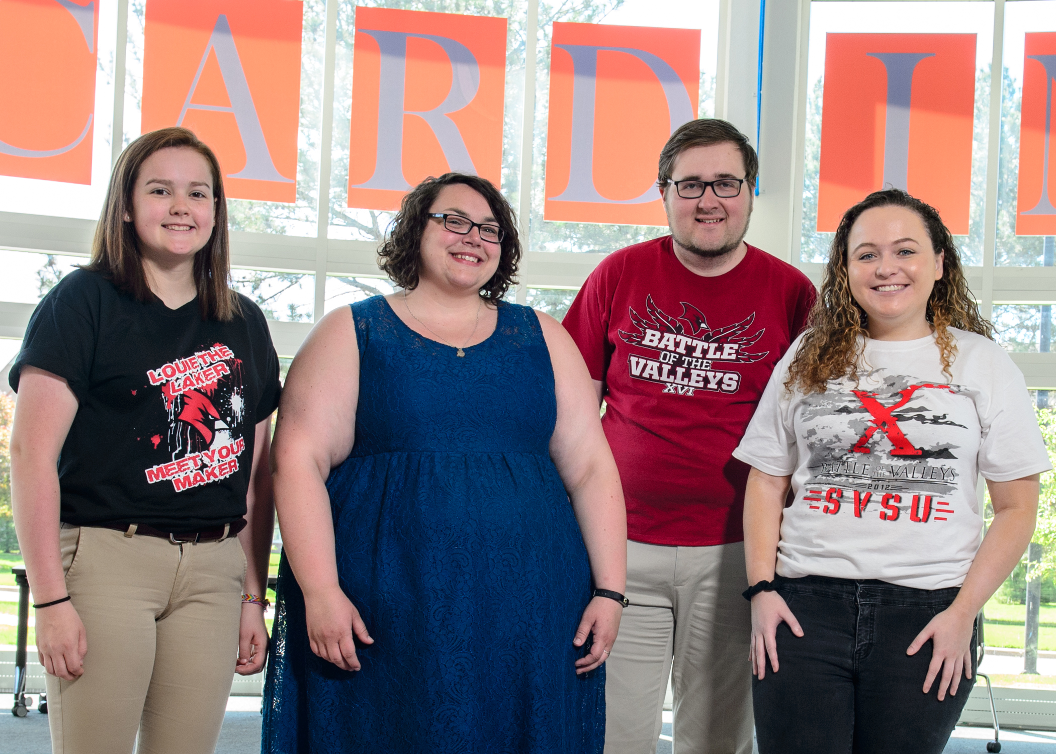 Members of SVSU Student Association with the Battle of the Valley benificary