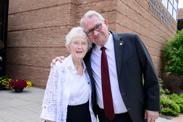 Lila Ryder, wife of the late Jack Ryder, with friend, current President Don J. Bachand
