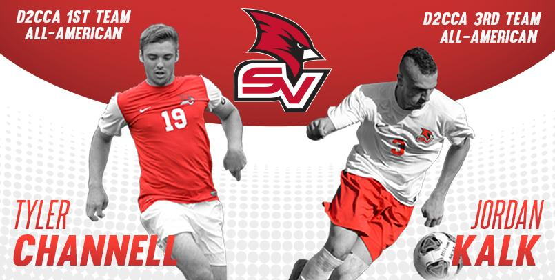 Men's soccer student-athletes Tyler Channell and Jordan Kalk, who earned All-America honors from the Division II Conference Commissioners Association for the 2015 season