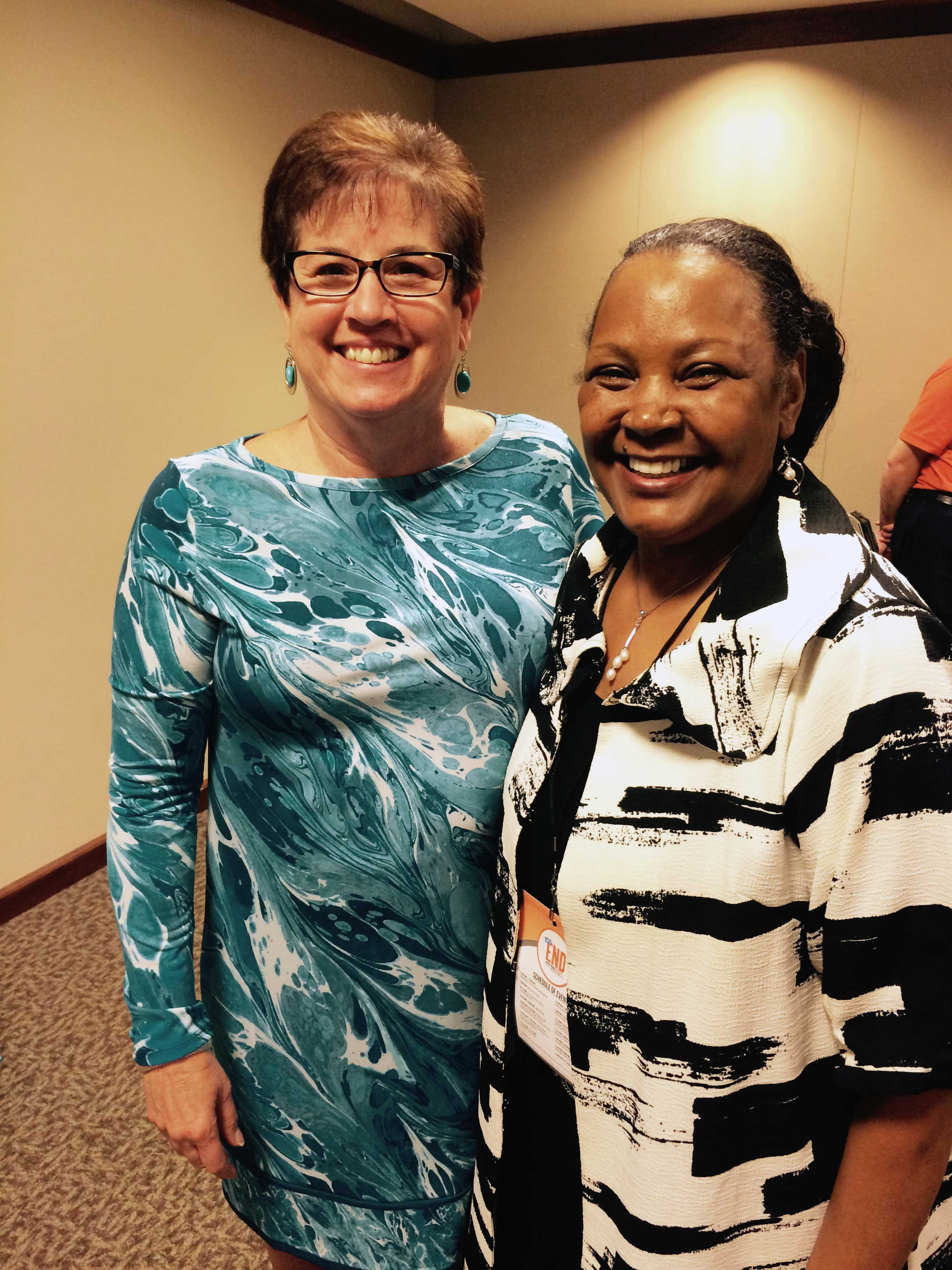 Dr. Mamie Thorns and Michigan's first lady, Mrs. Sue Snyder, in Lansing on Monday, June 8 at the state's first summit to discuss best practices for preventing and ending sexual assaults on college campuses.