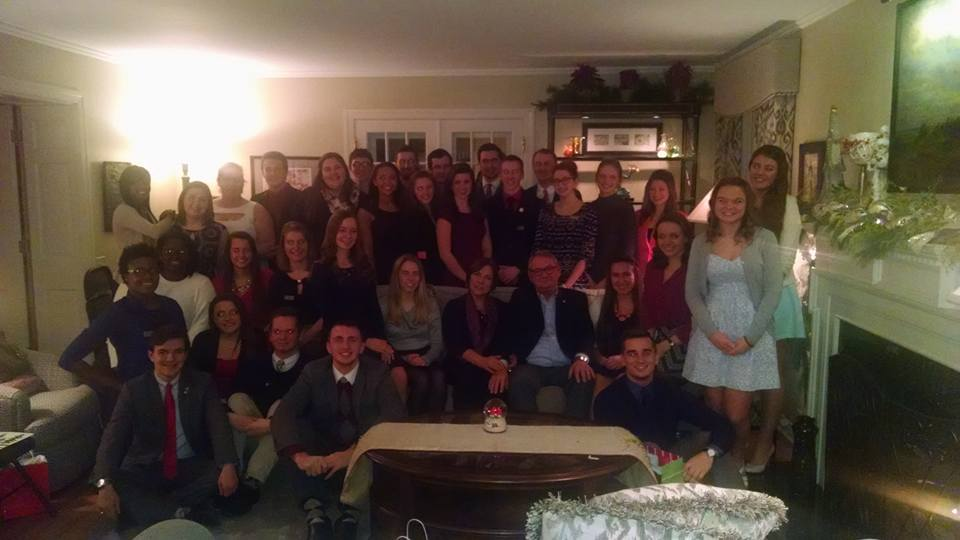 Student Association celebrates the holidays at President Bachand's home.