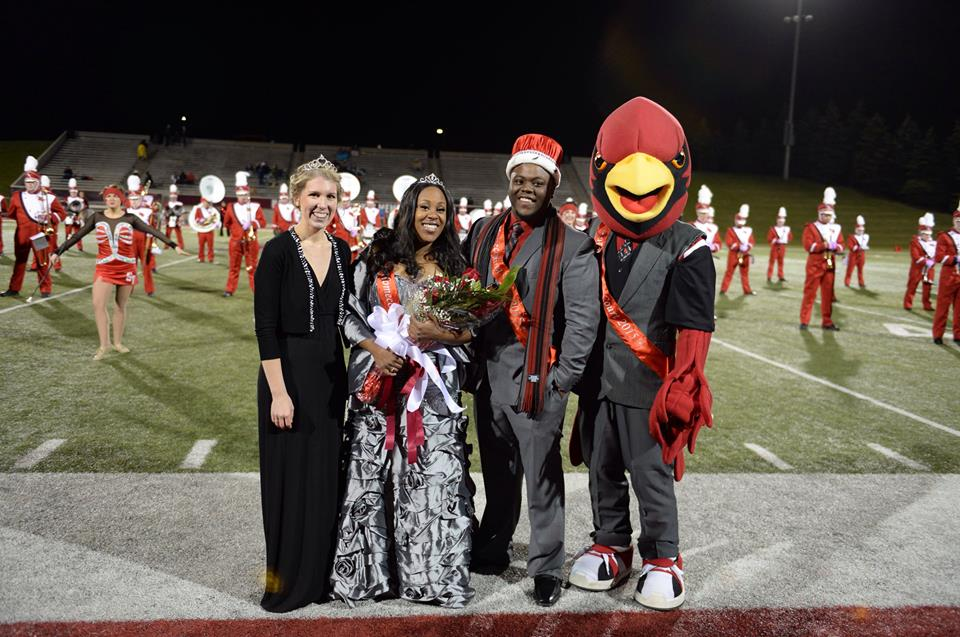 2004 Homecoming Queen Bethany Thrun, 2015 Homecoming Queen Charnae Keith and King Brandon Jones.