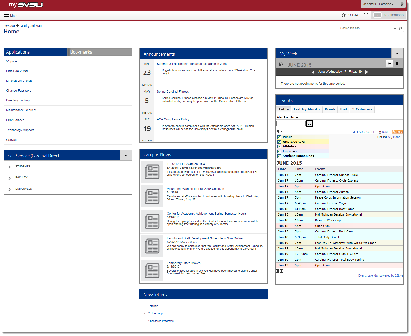 Screenshot of mySVSU portal.