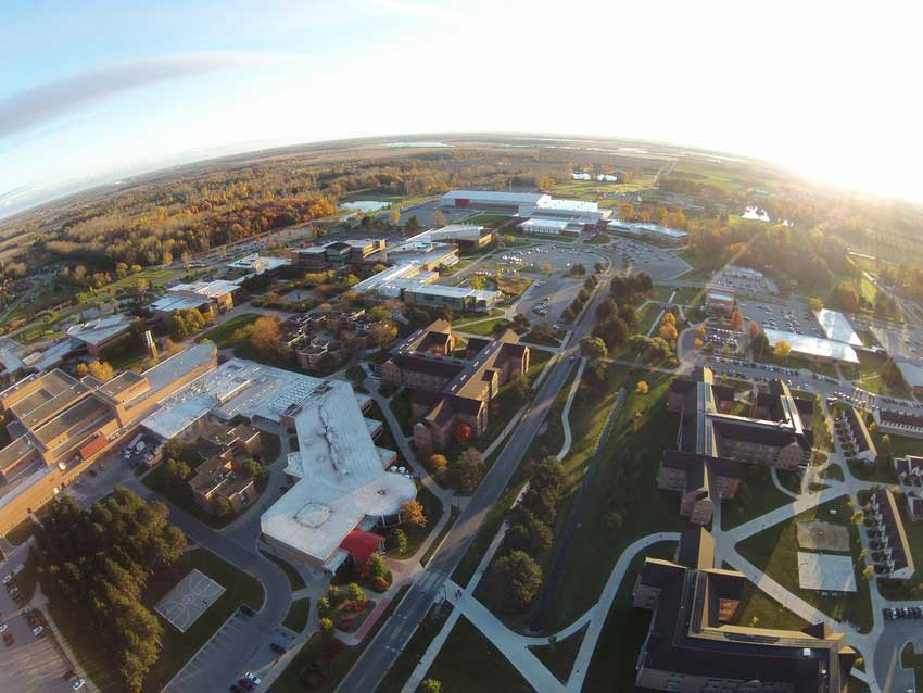 An aerial view of campus.