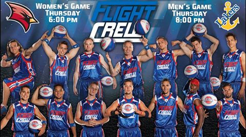 Basketball promotional flyer for January 14 games against LSSU, featuring Detroit Pistons Flight Crew as entertainment.