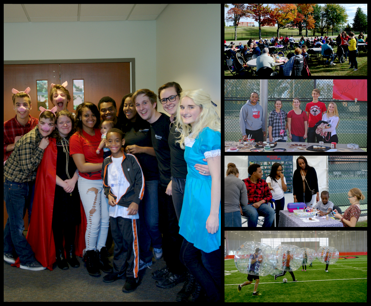 Collage of pictures from SVSU Family Day 2015 - bubble soccer, arts and crafts, football tailgate, theater performance