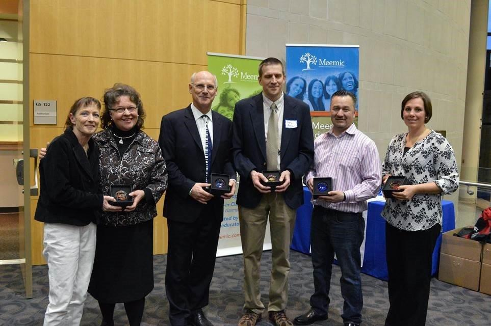 Heroes in Education Recipients: (l to r): Sally Burkey, Kathryn Layer, Charles Arnett, Gary Karney, Scott Garcia, Katie Jenkins
