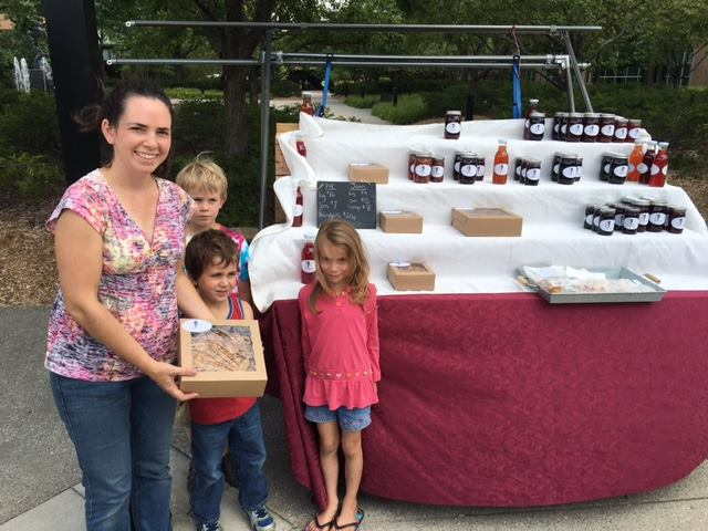 Ruth Chamberlain and her children own The Talking Berry Farm, in Ovid. Tbey brought  cooked up some amazing pies, jam and syrup for the first SVSU Farmer's Market.