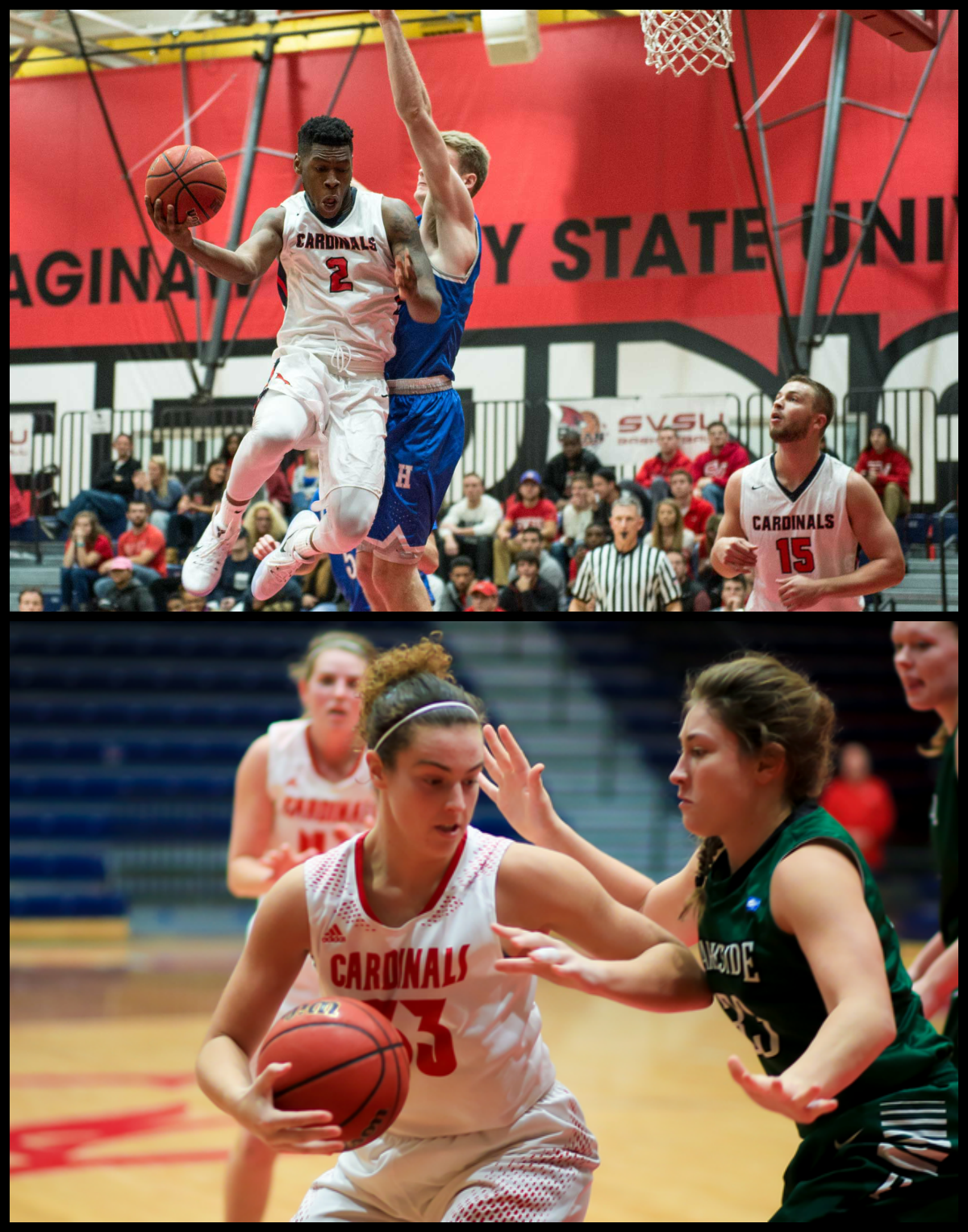 Collage of mens and womens basketball action shots