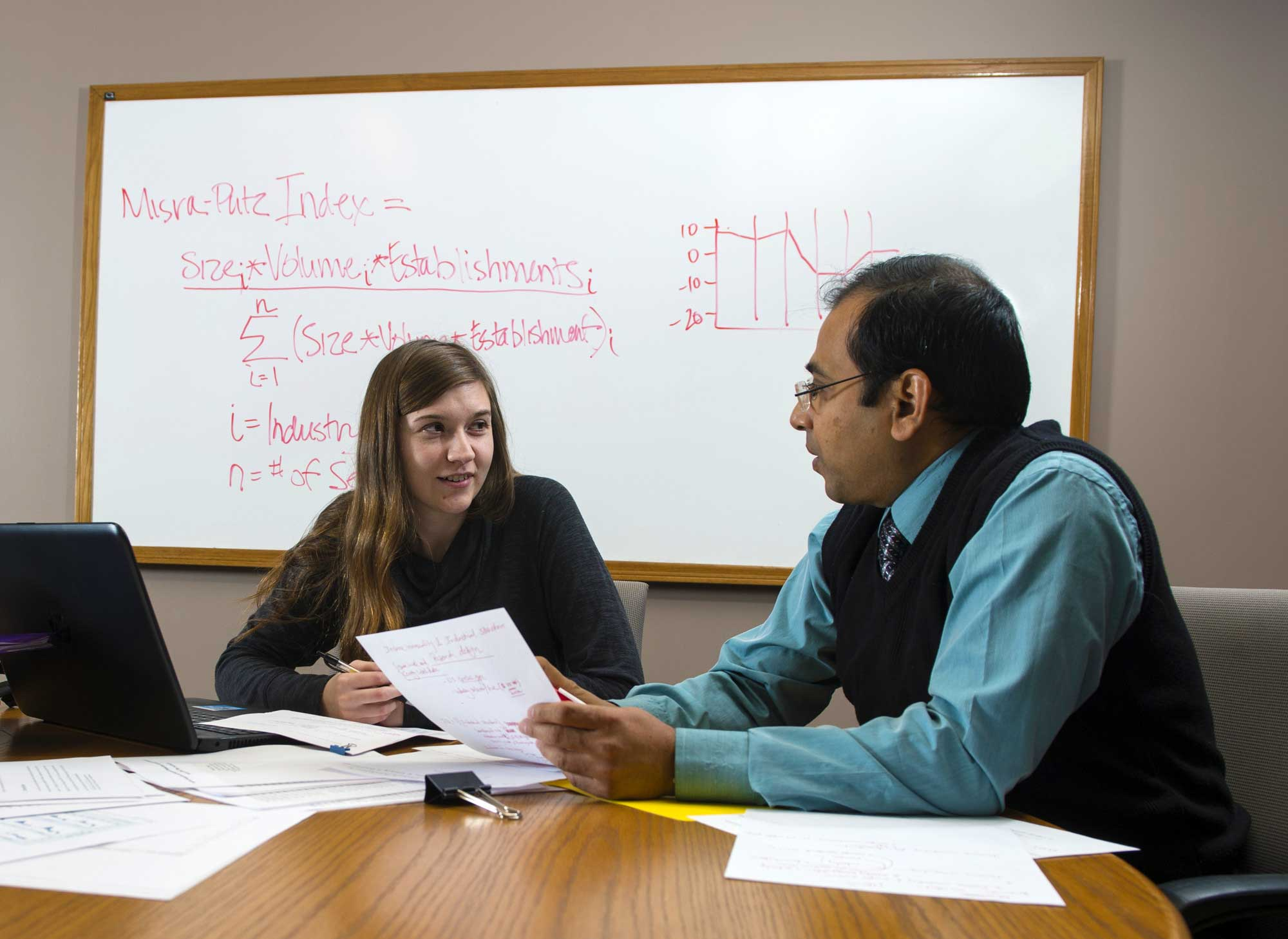 "Jenni Putz works with Kaustav Misra, associate professor of economics, on her Honors Program thesis. The title of her thesis is ""Income Inequality and Industrial Composition: Assessing the Impact of Industry Type, Size and Volume."""
