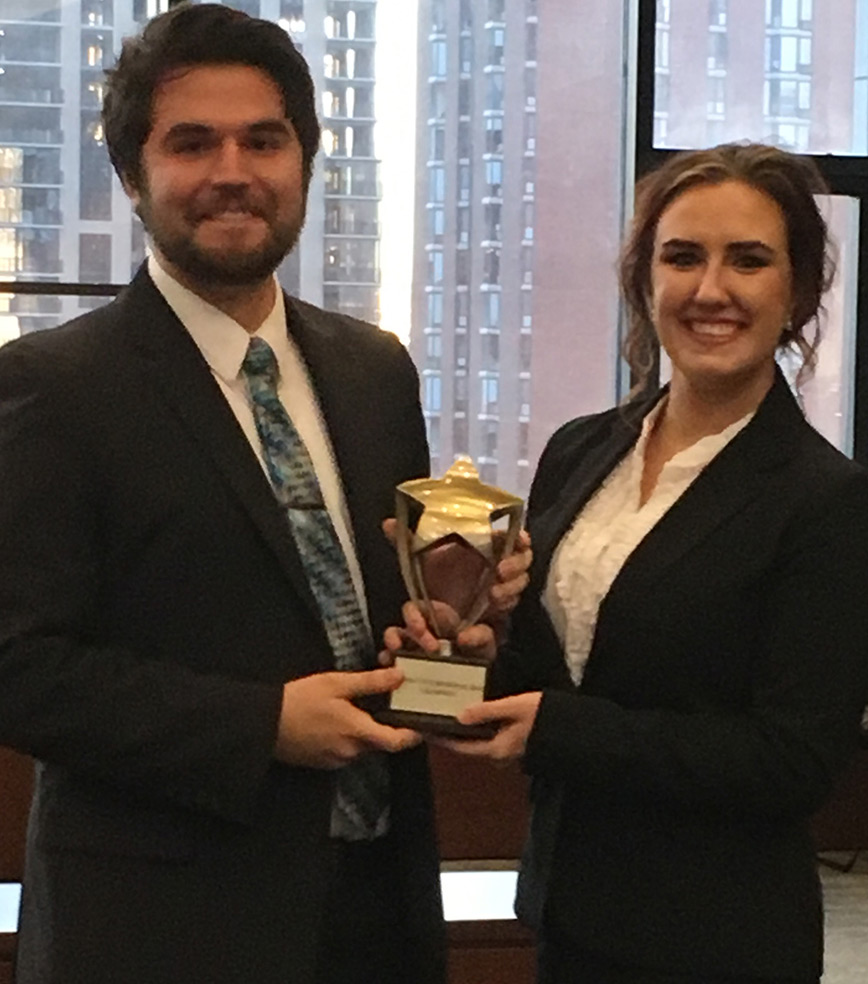 Connor Hughes, a political science major from Howell, and Madison Laskowski, a political science major from Bay City, won their American Moot Court Association regional tournament