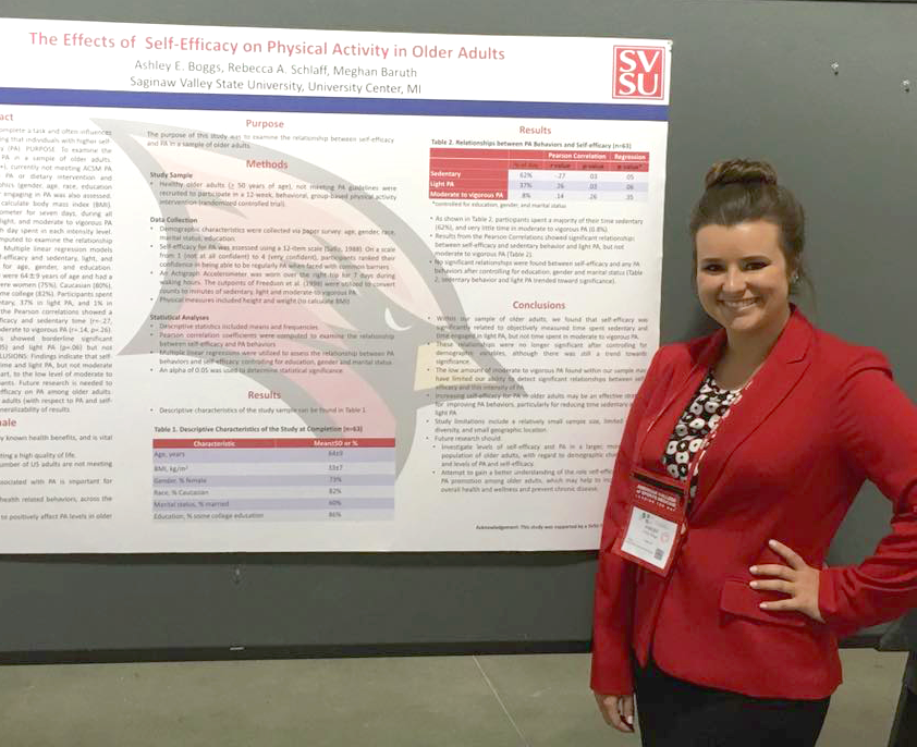 Congratulations to Ashley Boggs, an exercise science major from Linden, who won the Outstanding Undergraduate Oral Presentation Award at the Midwest American College of Sports Medicine Meeting in Ft. Wayne, Indiana