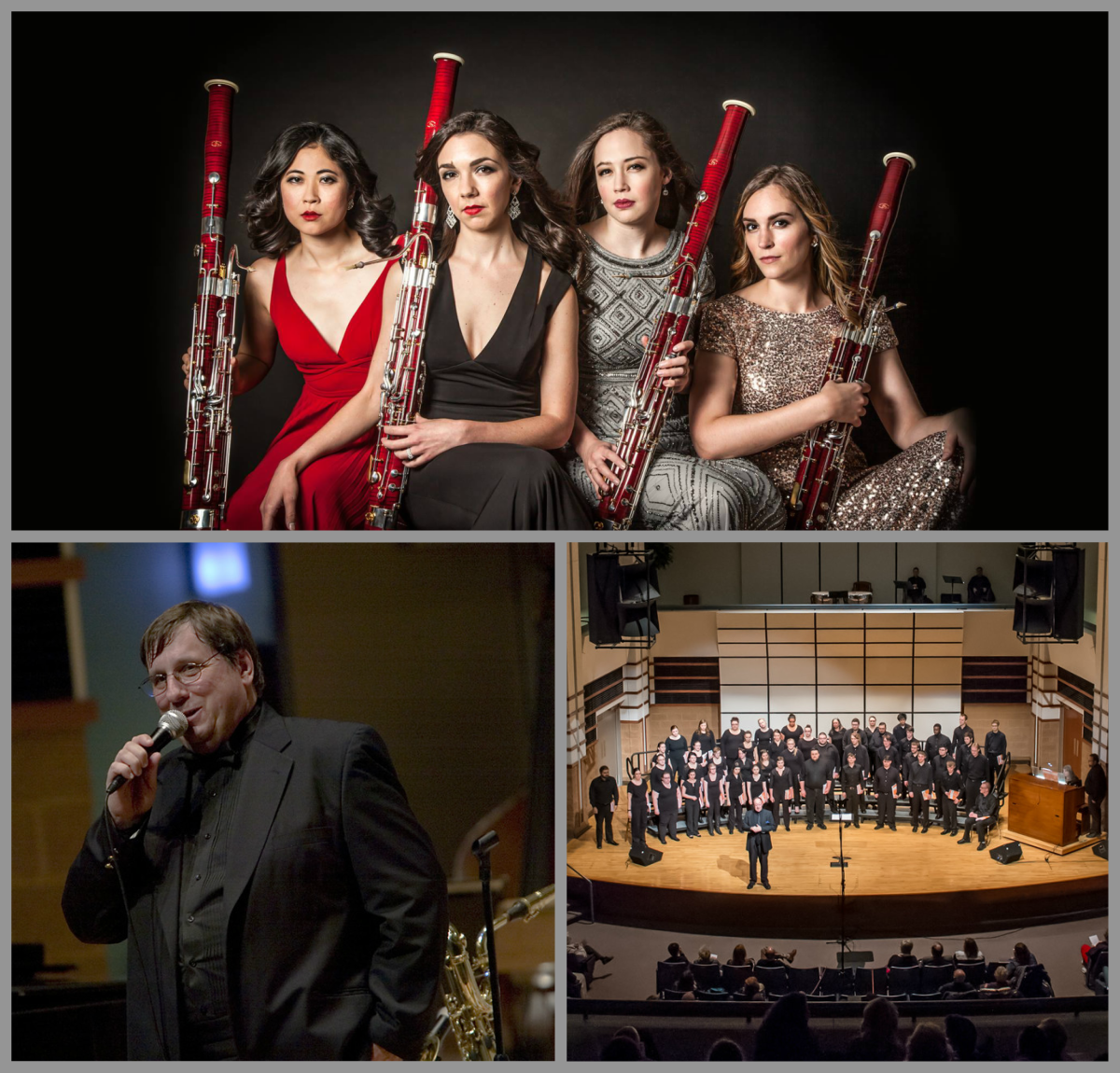 Collage of upcoming concerts The Breaking Winds Bassoon Quartet, SVSU Concert Choir, jazz artist-in-residence Jeff Hall and five visiting musicians