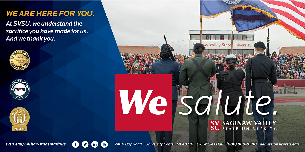 A graphic thanking US Veterans for their service and describing SVSU's commitment to serving and educating military service men and women