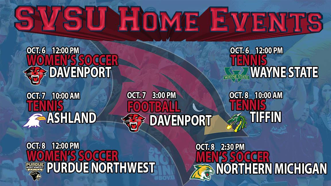 Home matches for SVSU weekend of Oct 6-8, listed as part of this news item.