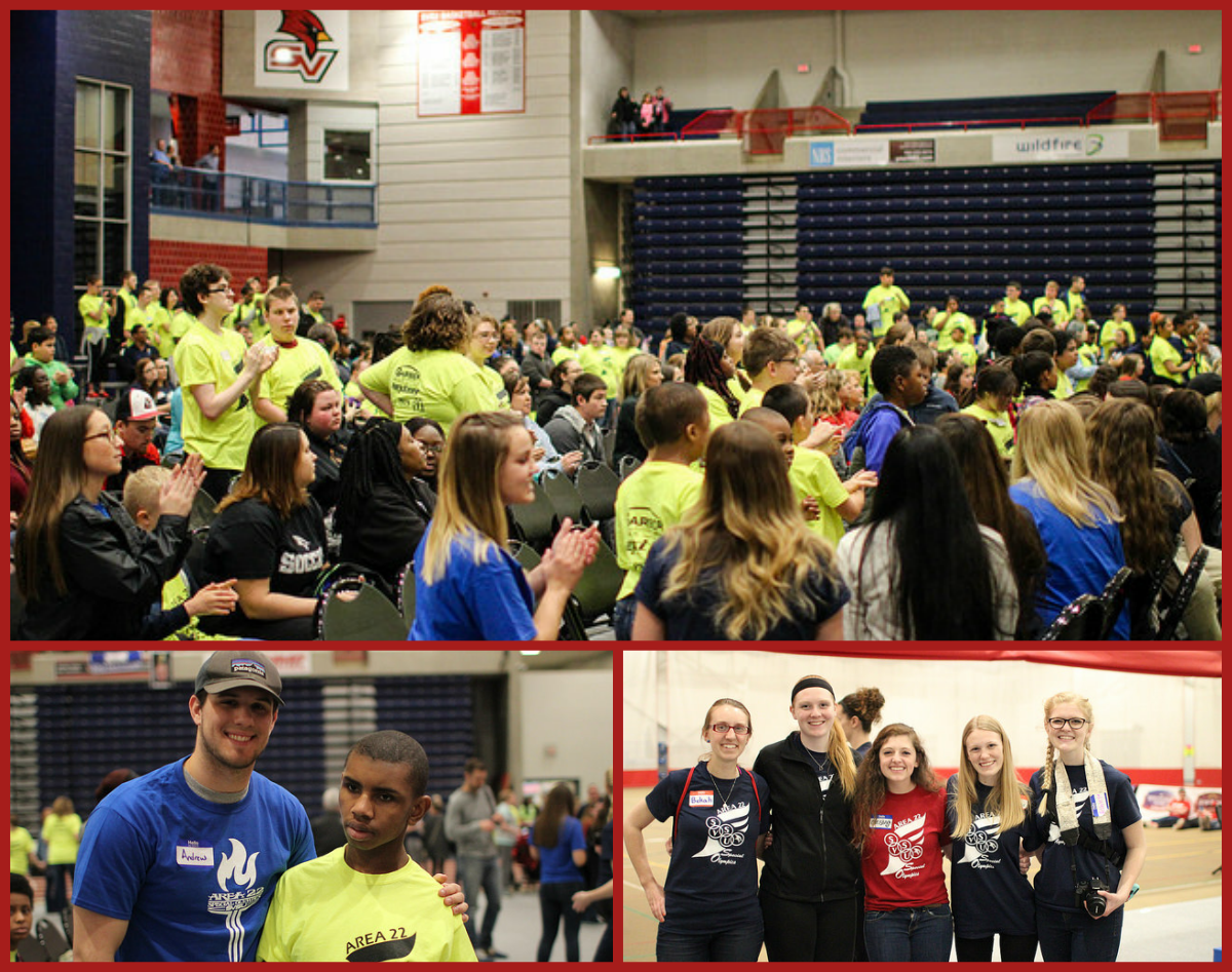 600 Special Olympics athletes competed in various events on campus in April 2017 - collage of competitors and SVSU volunteers.
