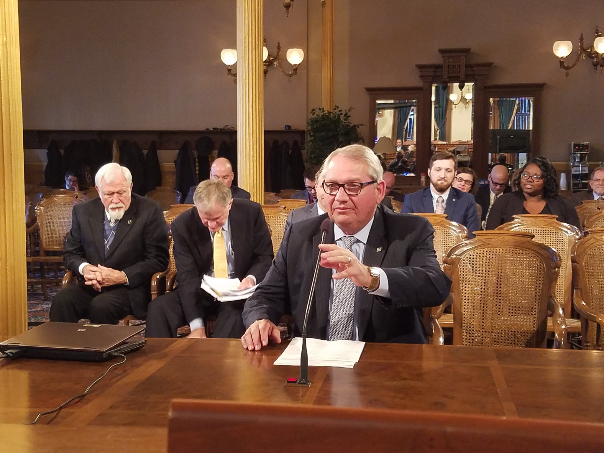 President Don Bachand gives testimony in Lansing.