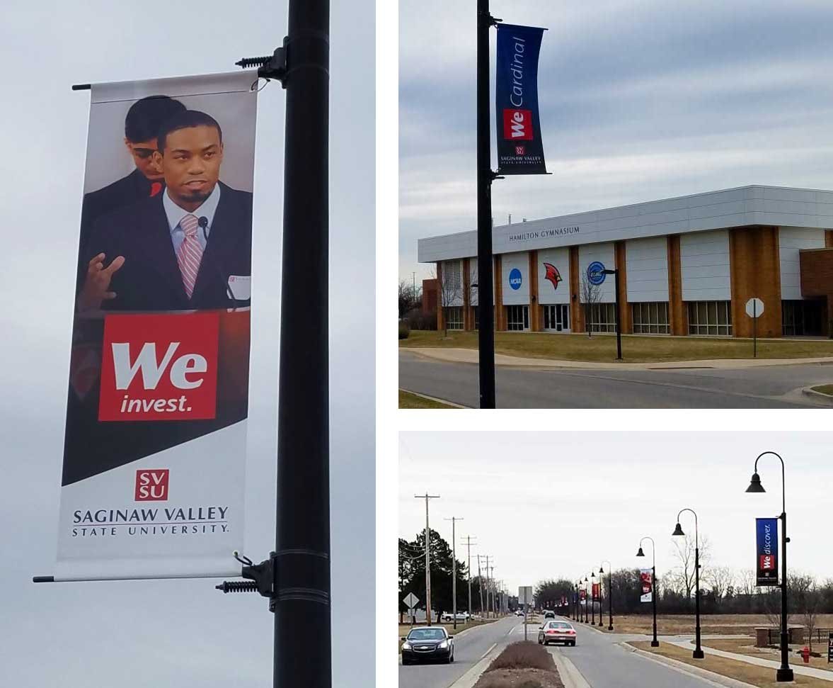 A collage of three banners on poles.