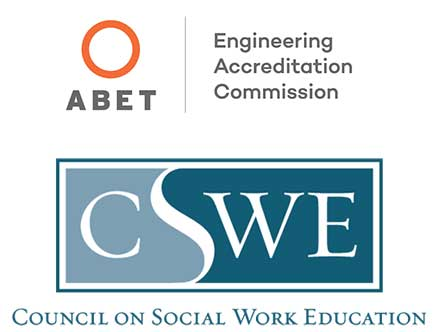 Logos for Accreditation Board for Engineering and Technology and Council on Social Work Education