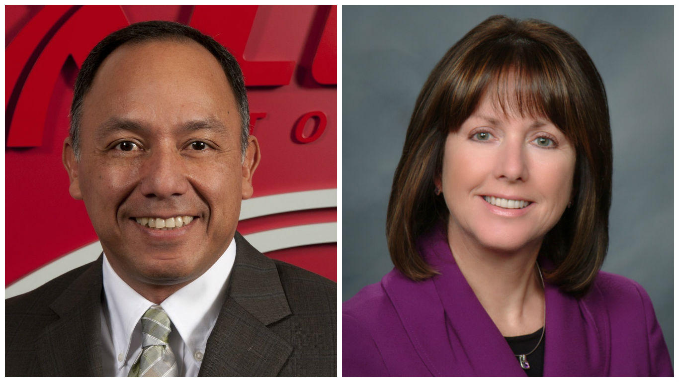 Luis Canales, executive director of global corporate affairs for Nexteer Automotive and JoAnn Crary, president of Saginaw Future, Inc.