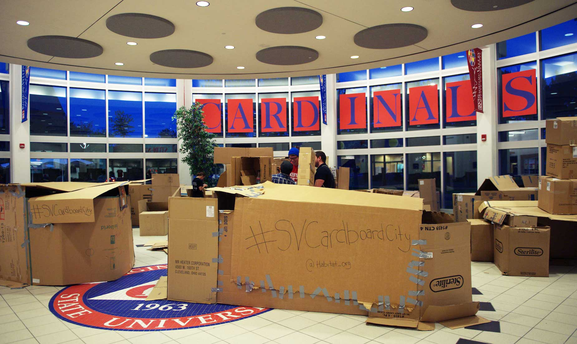 "Cardboard City is an annual event where students make ""shelters"" from cardboard boxes to raise awareness about homelessness."