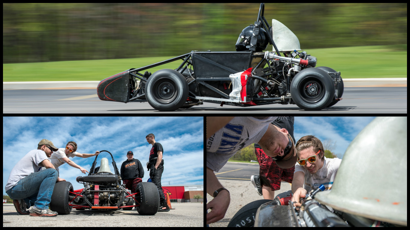 The Cardinal Formula Racing team testing their car prior to race day in Ryder Center parking lot.