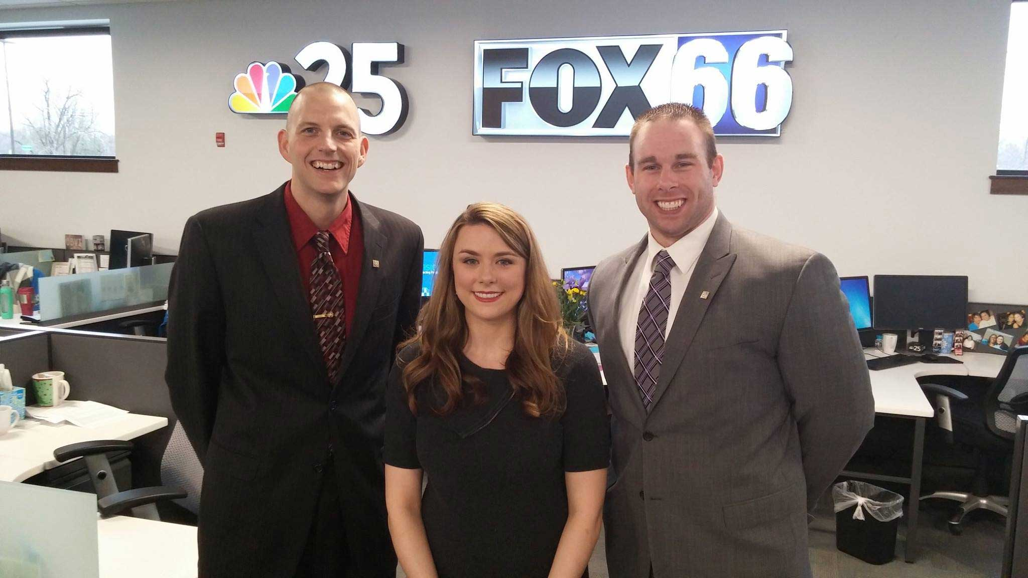 Career Services Director Mike Major, NBC25/Fox 66 reporter Jennifer Profitt, and  Assistant Director Tom Barnikow in newsroom.