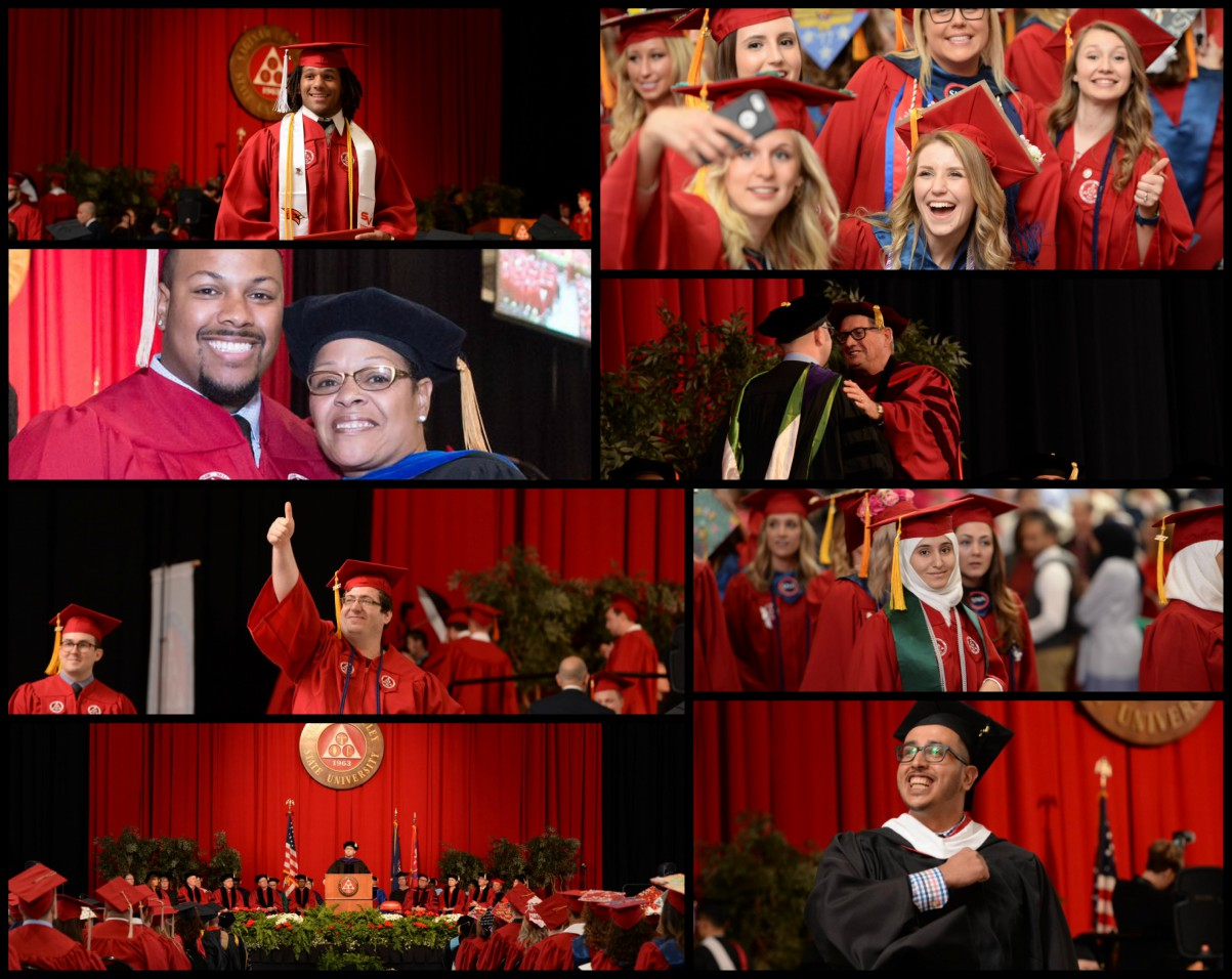 Collage of photos captured at May 2017 commencement