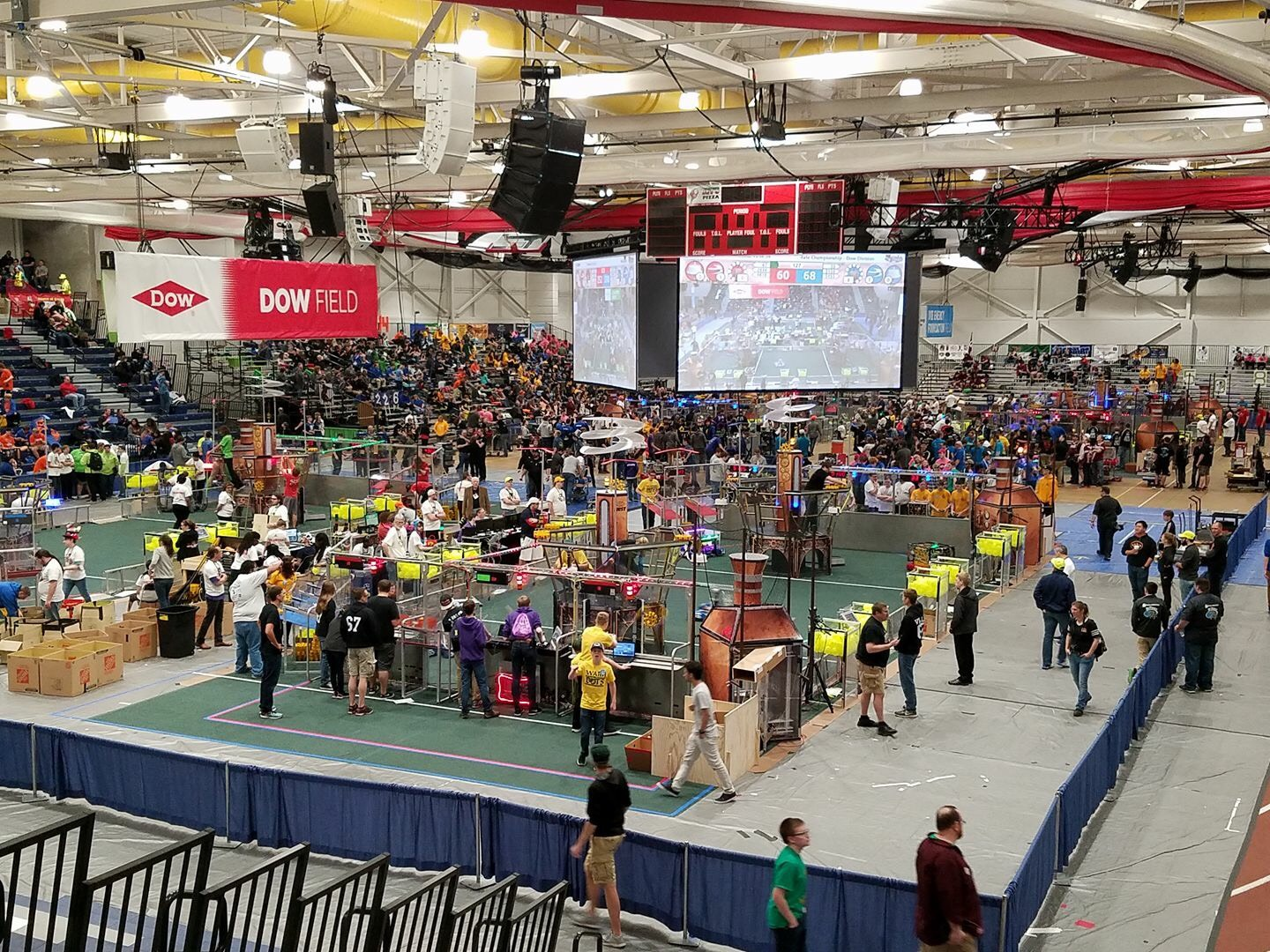 A view of the FIRST Robotics competition in O'Neill Arena. Day 1.