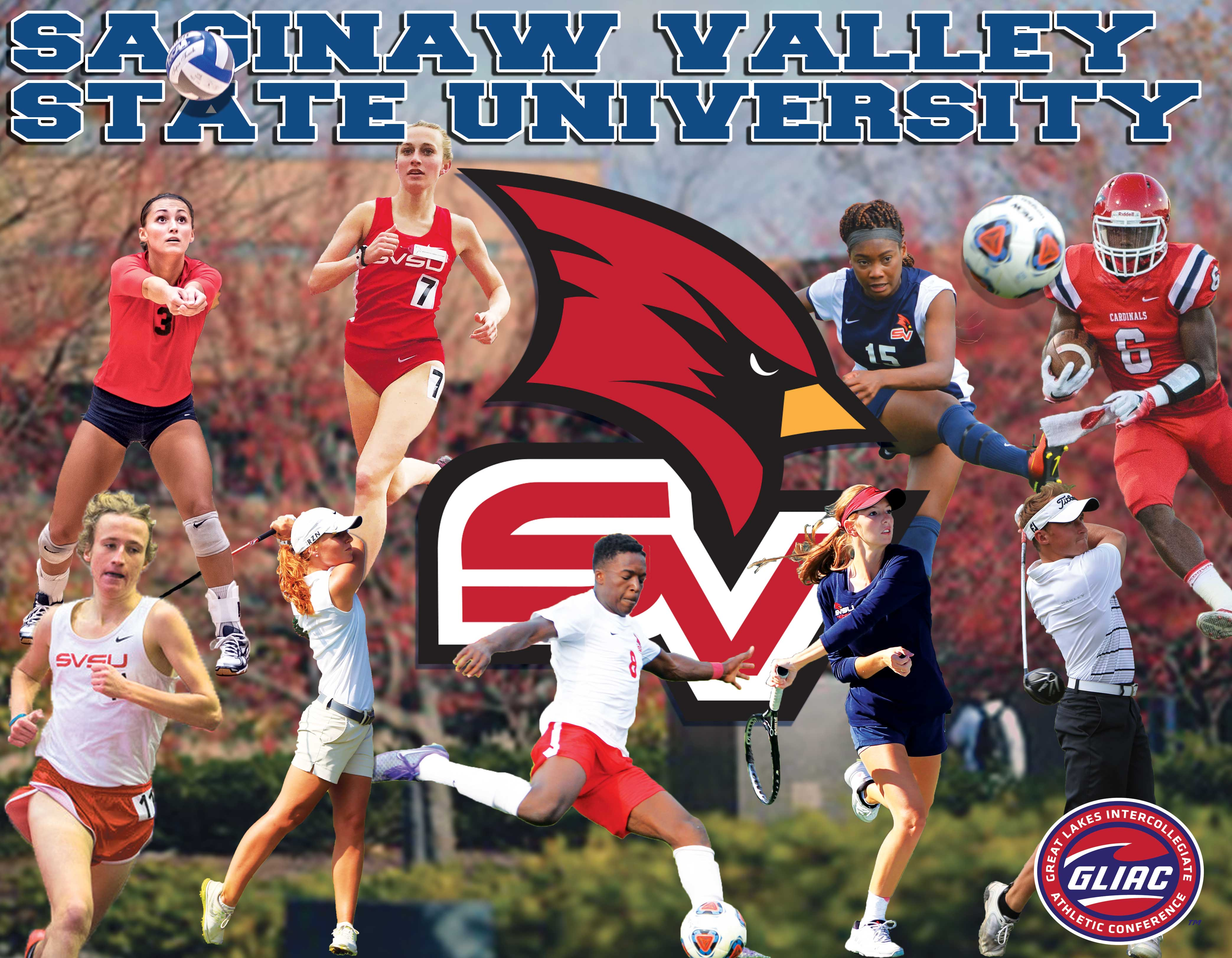Collage of active sports competing in Fall 2017 including women's tennis, women's volleyball, football, men's and women's golf, men's and women's cross country, men's and women's soccer.