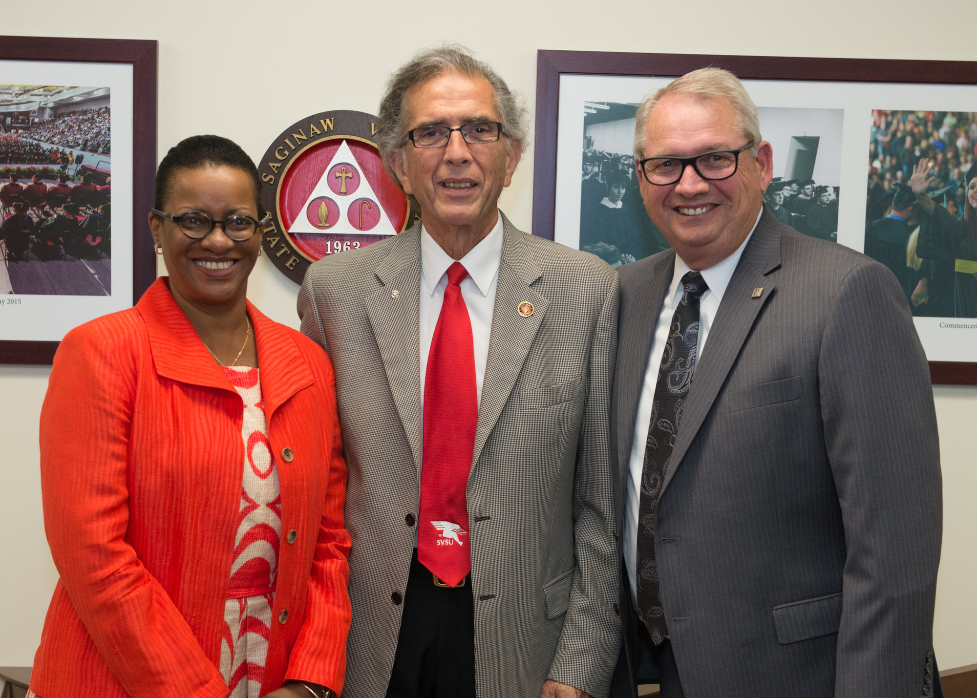 Cathy Ferguson and David Gamez with President Bachand at their last meeting in July 2017