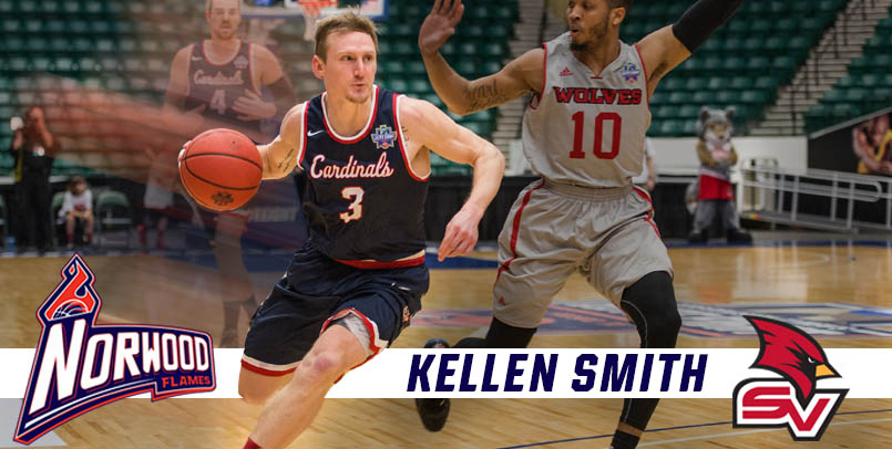 Kellen Smith, a member of the men's basketball Elite Eight team from 2016, playing basketball against Northwood Timberwolves. SVSU logo and the Norwood Flames Basketball Club logo.