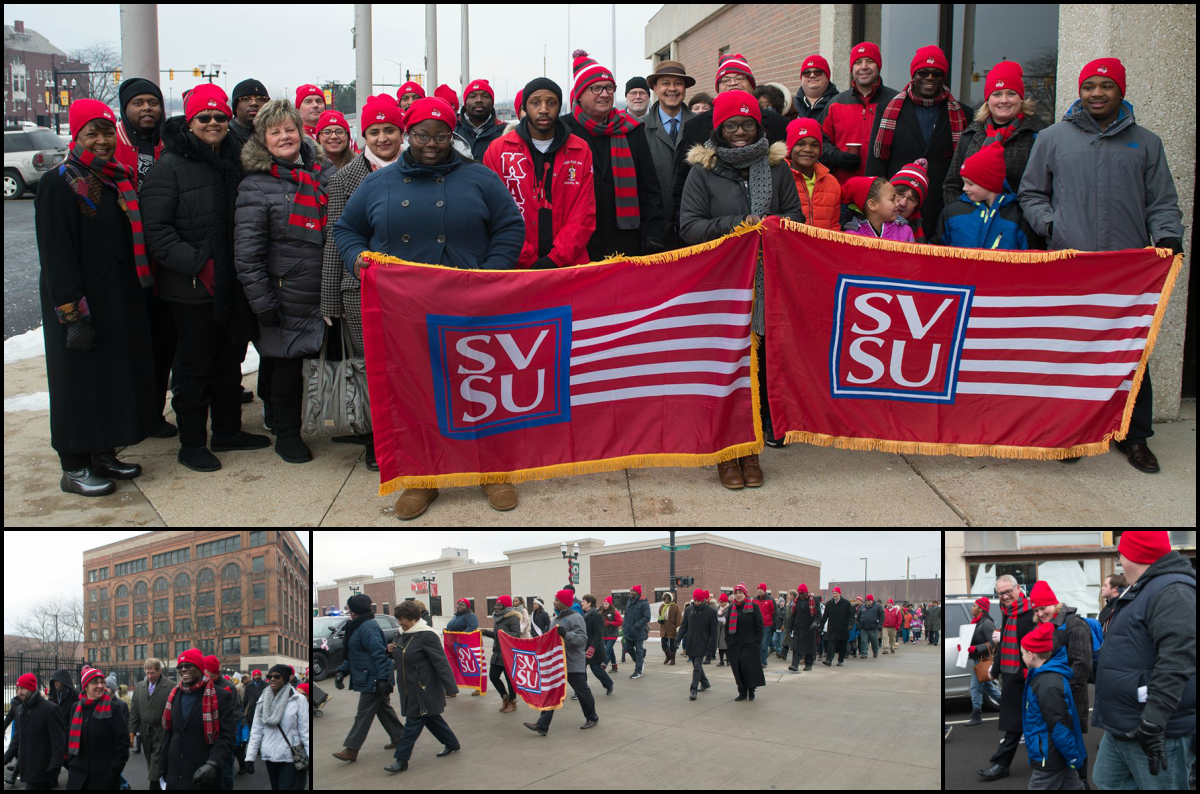 Students, faculty and staff from SVSU participate in the 2017 MLK March in downtown Saginaw